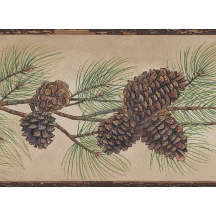 Bg1670bd Pine Cone Branch Border Discount Wallcovering