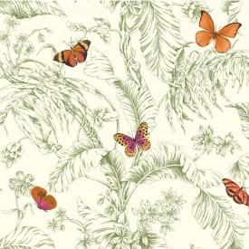Papillon Toile Wallpaper