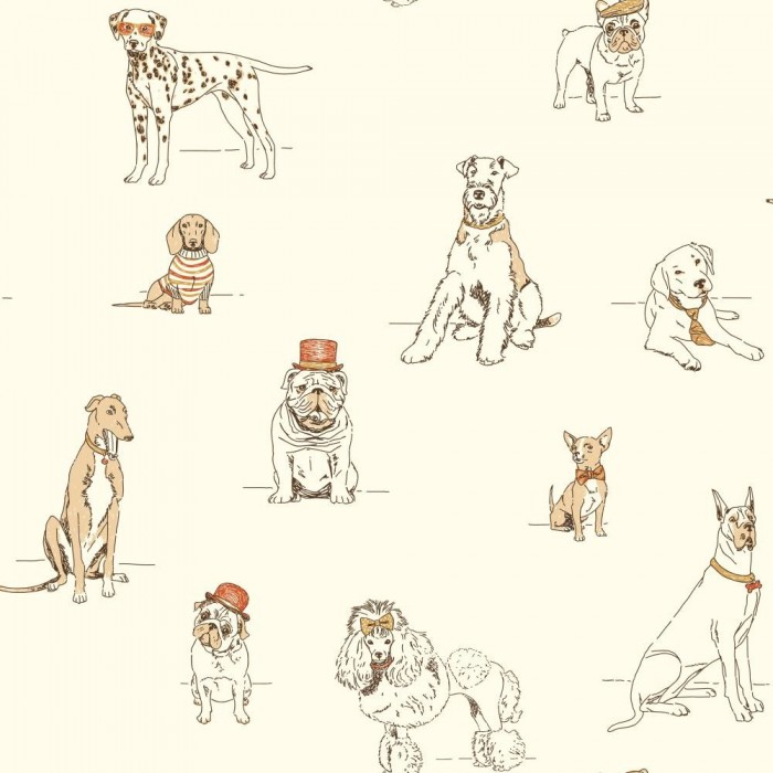 Bathroom Wallcovering French Toile Room Decor Bathroom: Dog's Life Toile Wallpaper