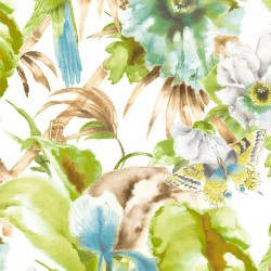 Tropical Floral With Parrots Wallpaper