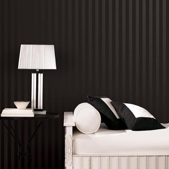 Black on Black Satiny/Flat 1.325 inch Striped Wallpaper
