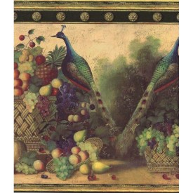 Fruit With Exotic Birds Border