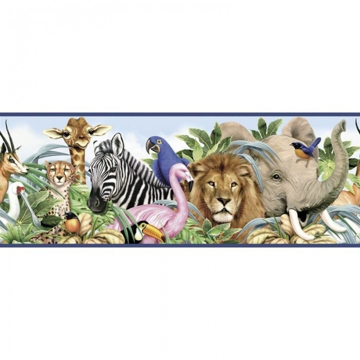 Wk9171b Jungle Animals Border Discount Wallcovering