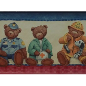Fireman, Nurse, Policeman, & EMT Teddy Bear Border