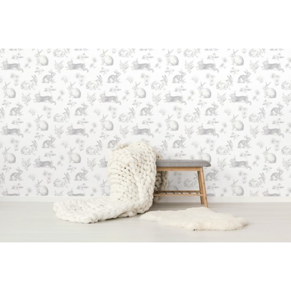 Ki0580 Bunny Toile Wallpaper Discount Wallcovering