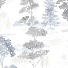 Forest Wallpaper in Beige, Blue & Grey