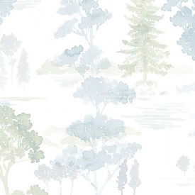 Forest Wallpaper in Blues & Greens