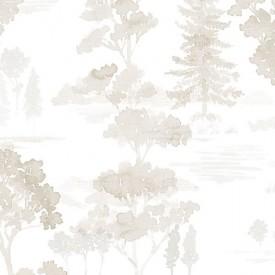 Forest Wallpaper in Beige, Grey & White