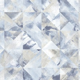 Mosaic Wallpaper in Blue, Beige & Grey