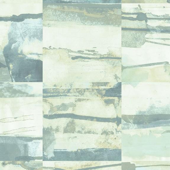 Aquarelle Tile Wallpaper in Greens & Grey