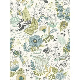 Whimsy Green Fauna Wallpaper