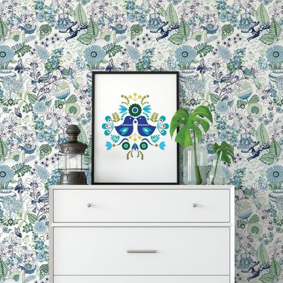 Whimsy Blue Fauna Wallpaper