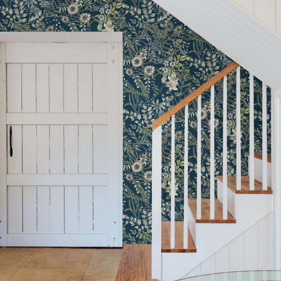 Full Bloom Navy Floral Wallpaper