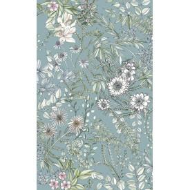 Full Bloom Blue Floral Wallpaper