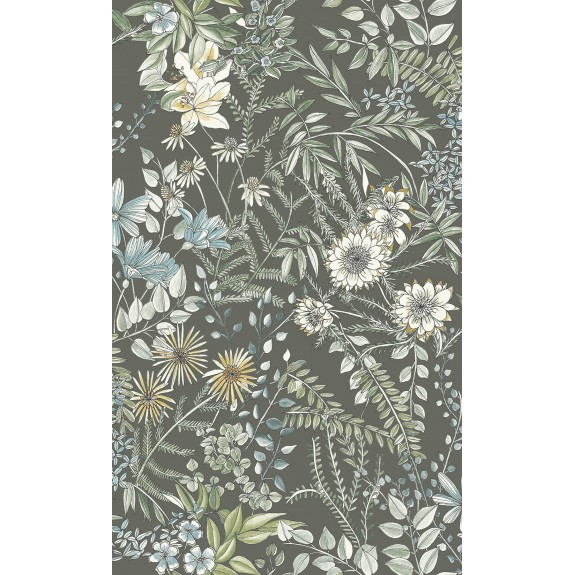 Full Bloom Taupe Floral Wallpaper