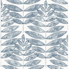 Akira Navy Leaf Wallpaper