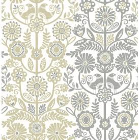 Lovebirds Grey Folk Stripe Wallpaper