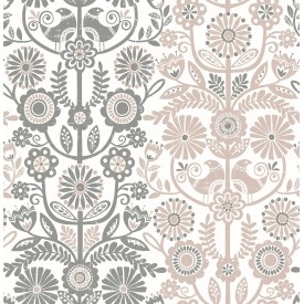 Lovebirds Light Pink Folk Stripe Wallpaper