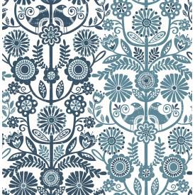 Lovebirds Navy Folk Stripe Wallpaper