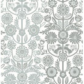 Lovebirds Slate Folk Stripe Wallpaper