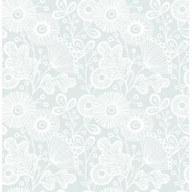 Ana Light Blue Floral Wallpaper