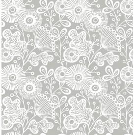 Ana Grey Floral Wallpaper