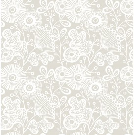 Ana Taupe Floral Wallpaper