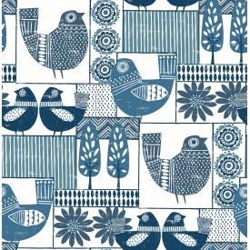 Hennika Blue Patchwork Wallpaper