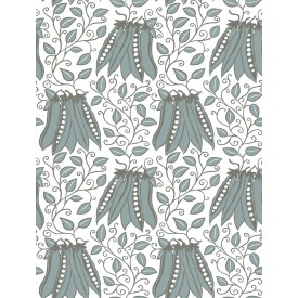 Peas in a Pod Turquoise Garden Wallpaper