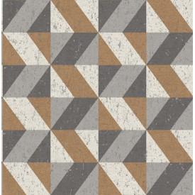 Cerium Copper Concrete Geometric Wallpaper