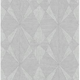 Intrinsic Silver Geometric Wood Wallpaper
