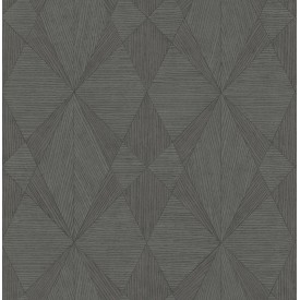 Intrinsic Dark Grey Geometric Wood Wallpaper