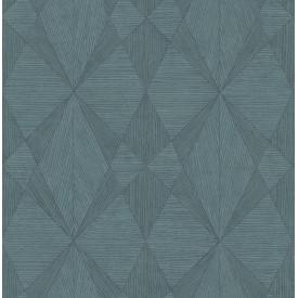 Intrinsic Teal Geometric Wood Wallpaper