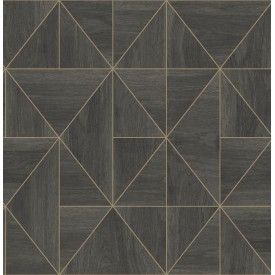 Cheverny Dark Brown Geometric Wood Wallpaper
