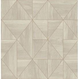 Cheverny Cream Geometric Wood Wallpaper