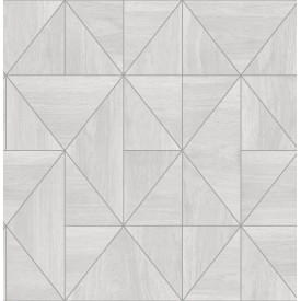 Cheverny Light Grey Geometric Wood Wallpaper