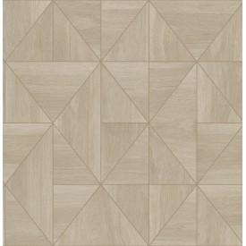Cheverny Beige Geometric Wood Wallpaper