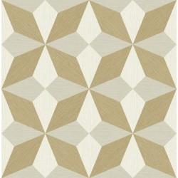 Valiant Beige Faux Grasscloth Geometric Wallpaper