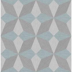 Valiant Aqua Faux Grasscloth Geometric Wallpaper