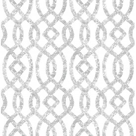 Ethereal Silver Trellis Wallpaper