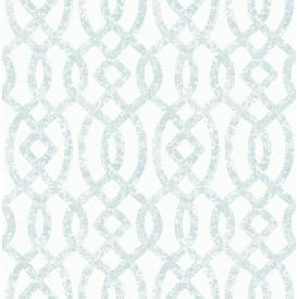 Ethereal Sky Blue Trellis Wallpaper