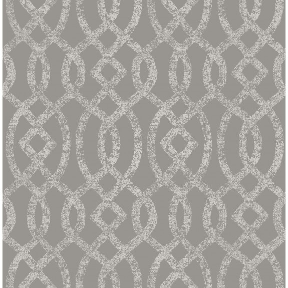 Ethereal Grey Trellis Wallpaper