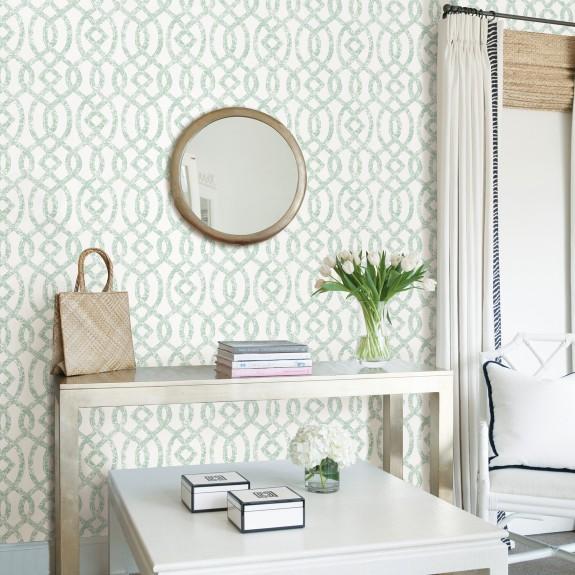 Ethereal Sea Green Trellis Wallpaper
