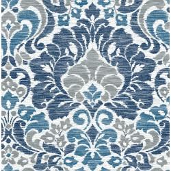 Garden of Eden Blue Damask Wallpaper