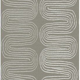 Zephyr Brown Abstract Stripe Wallpaper