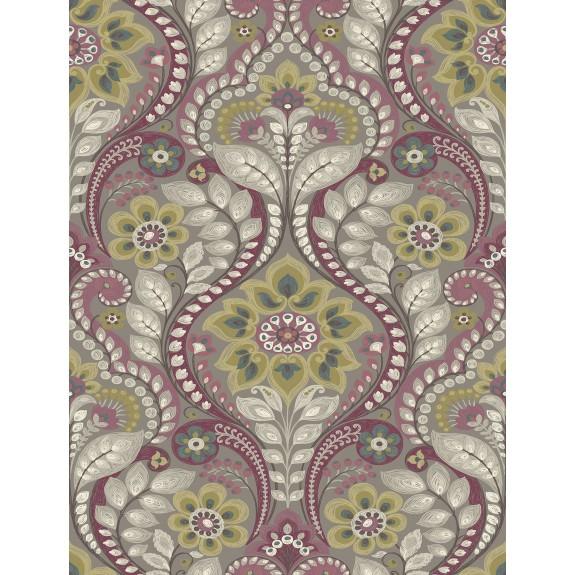 Night Bloom Grey Damask Wallpaper