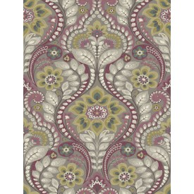 Night Bloom Grey Damask Wallpaper