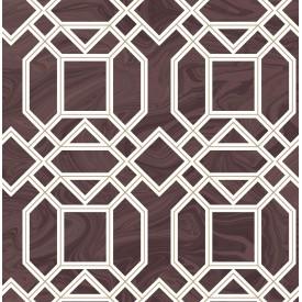 Daphne Maroon Trellis Wallpaper
