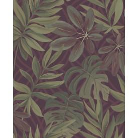 Nocturnum Maroon Leaf Wallpaper