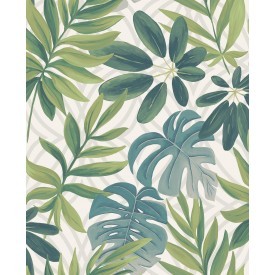 Nocturnum White Leaf Wallpaper